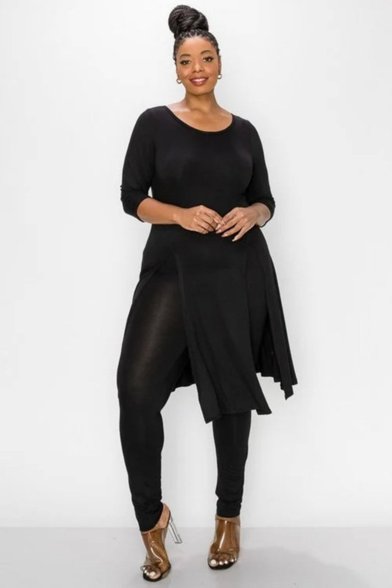 Black Carwash Pleat Tunic Pant set
