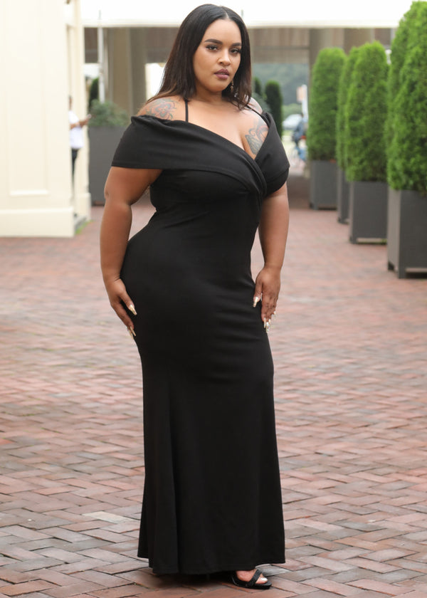 Black Off the Shoulder Scuba Maxi Dress