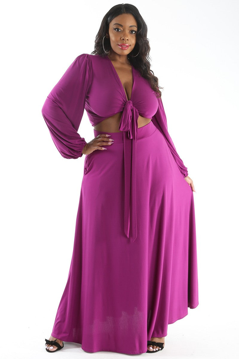 Two-Piece Maxi Skirt Set with Wrap Top