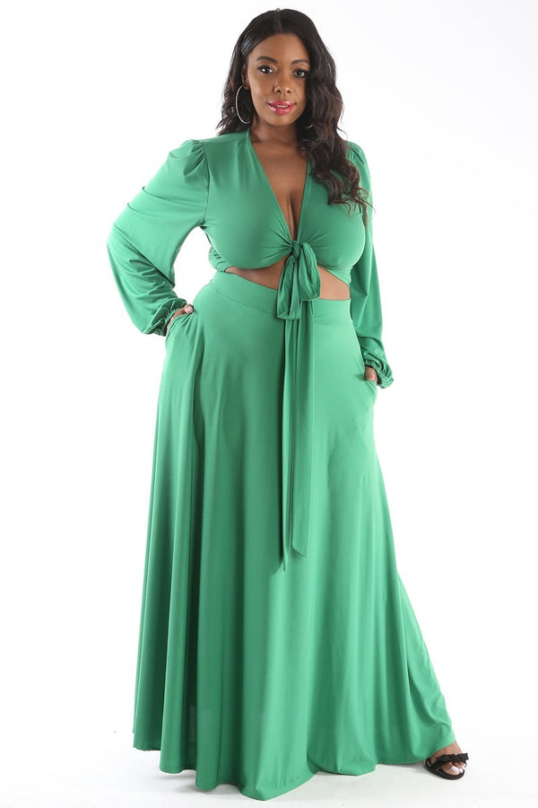 Green Two-Piece Maxi Skirt Set with Wrap Top