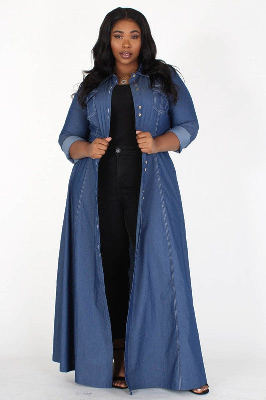 Denim Button Front Maxi Dress