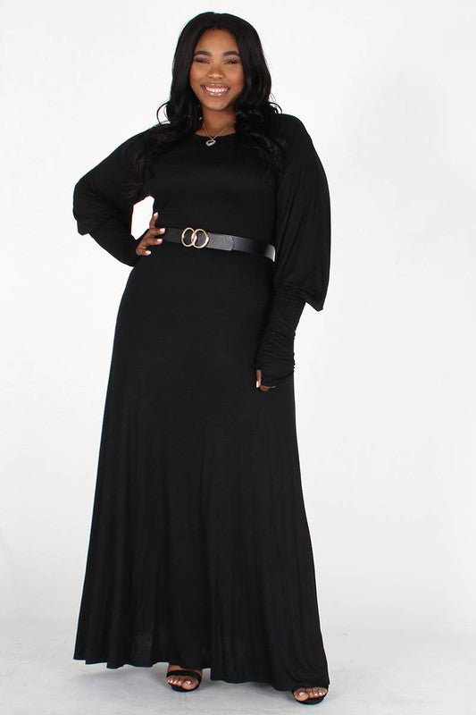 Black Knit Maxi Dress With Bishop Sleeves
