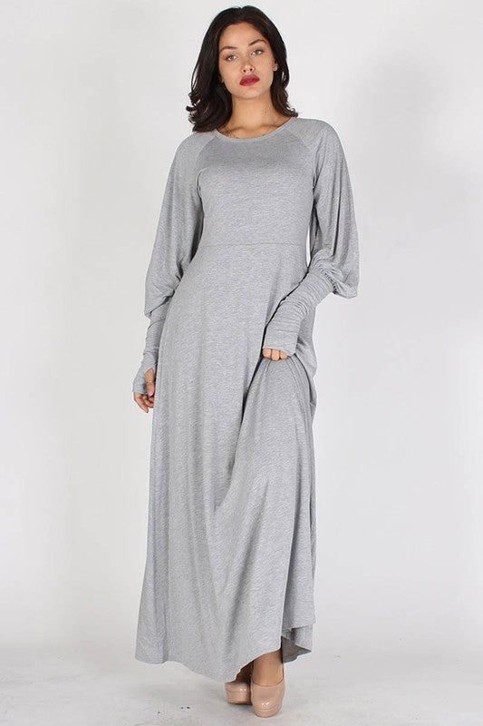 Solid Knit Maxi Dress With Bishop Sleeves