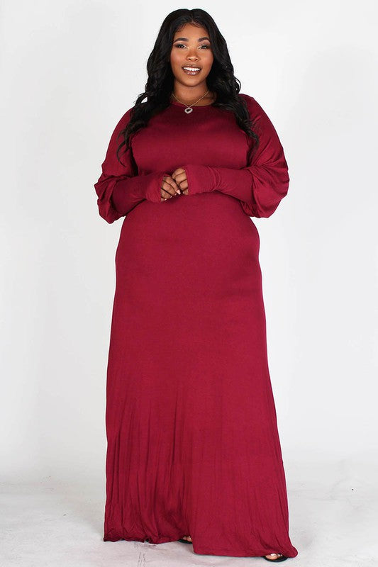 Diana Ruby Knit Maxi Dress With Bishop Sleeves