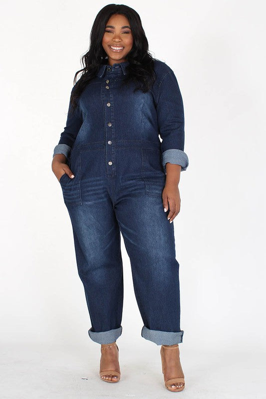 Dena Relaxed Fit Denim Jumpsuit