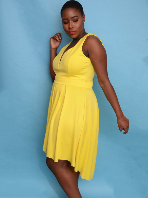 Yellow Scuba Hi Lo Flared Dress