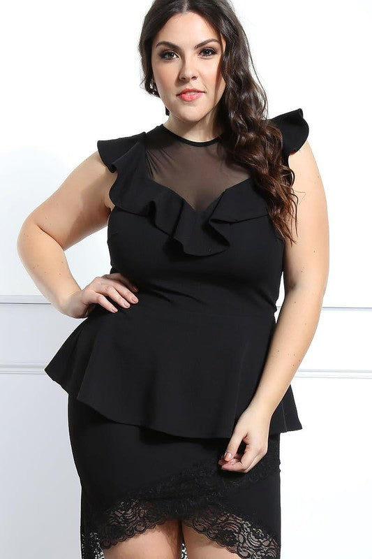 Black Ruffle and Mesh Peplum Top