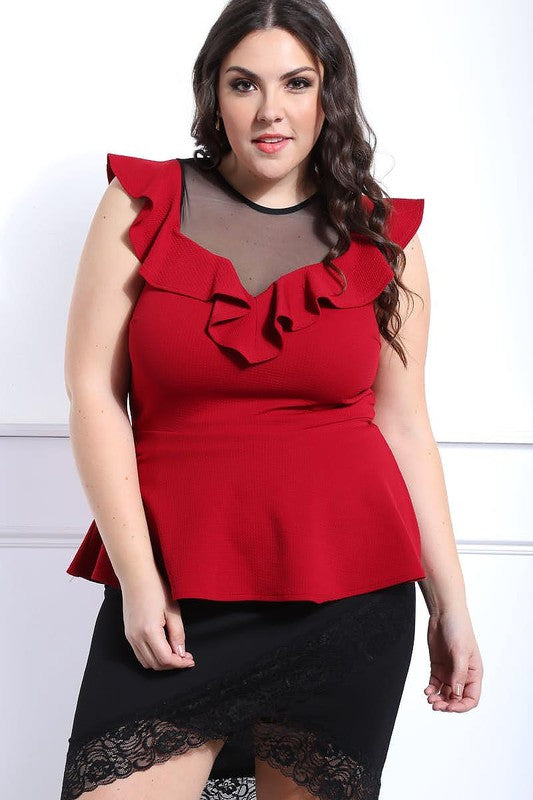 Red Ruffle and Mesh Peplum Top