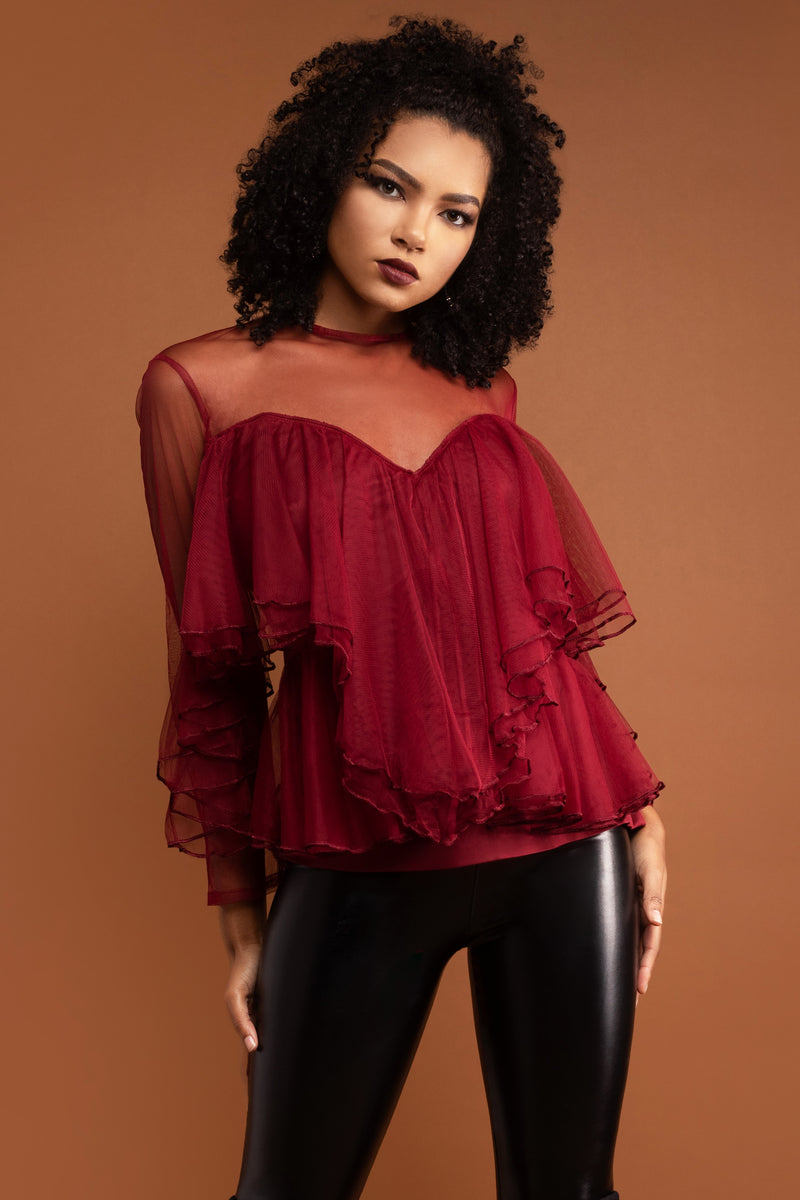 Natalia Berry Ruffle Top