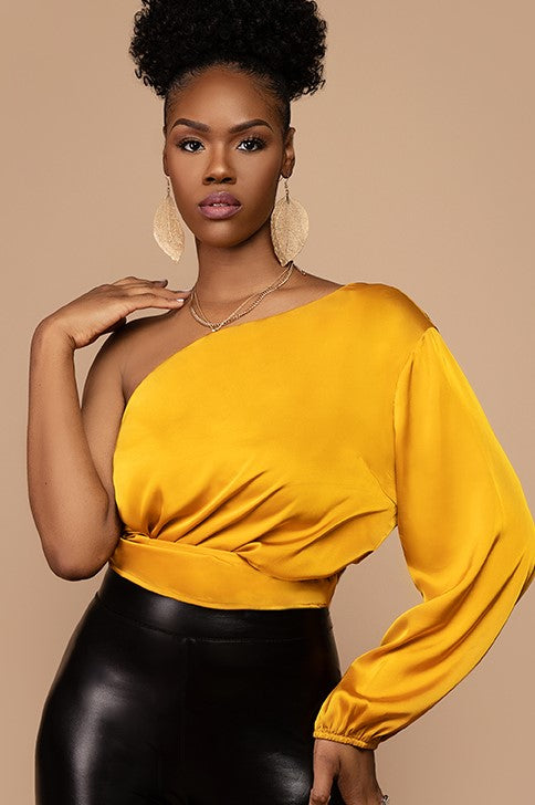 Simone Golden One Shoulder Satin Top