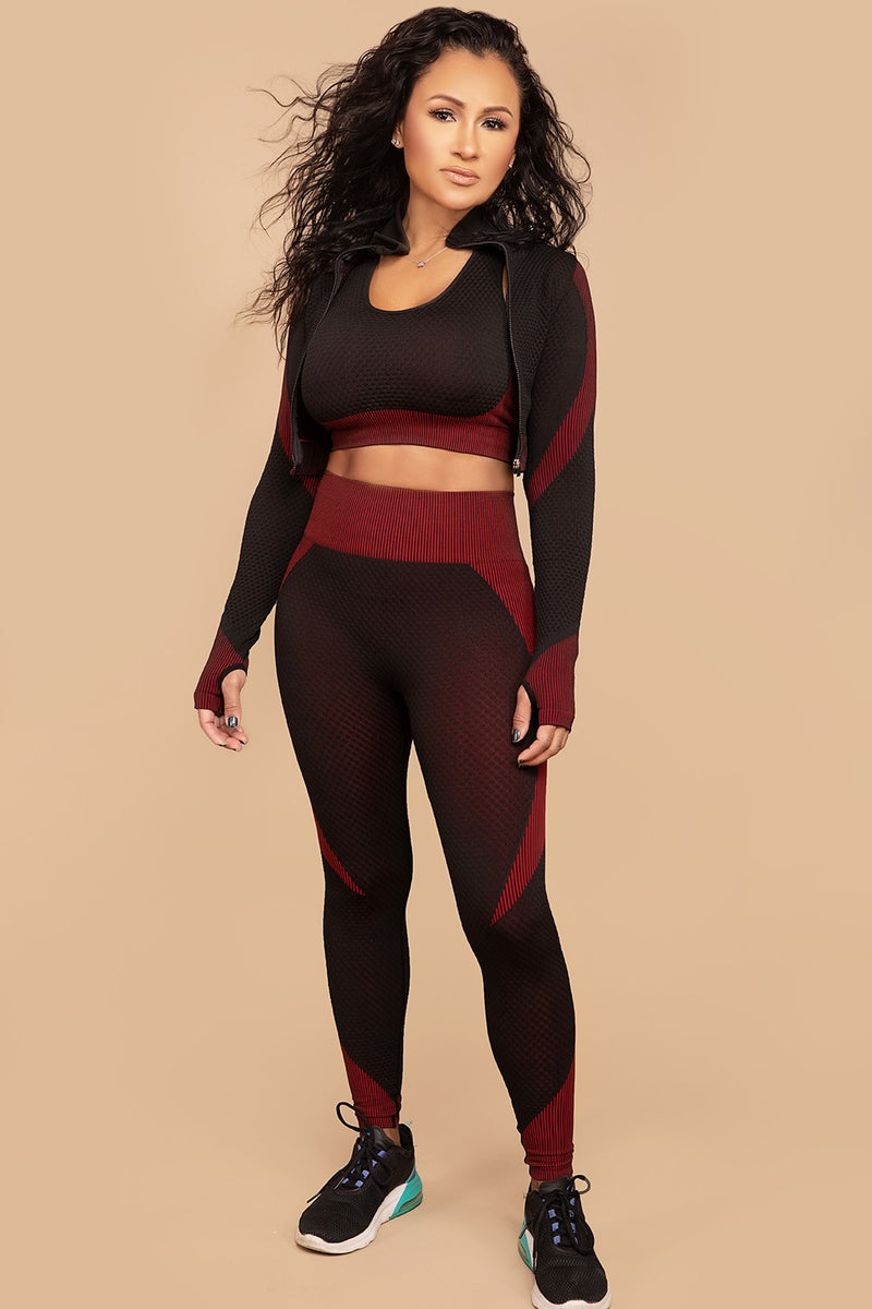 Black Red 3 piece Activewear Set