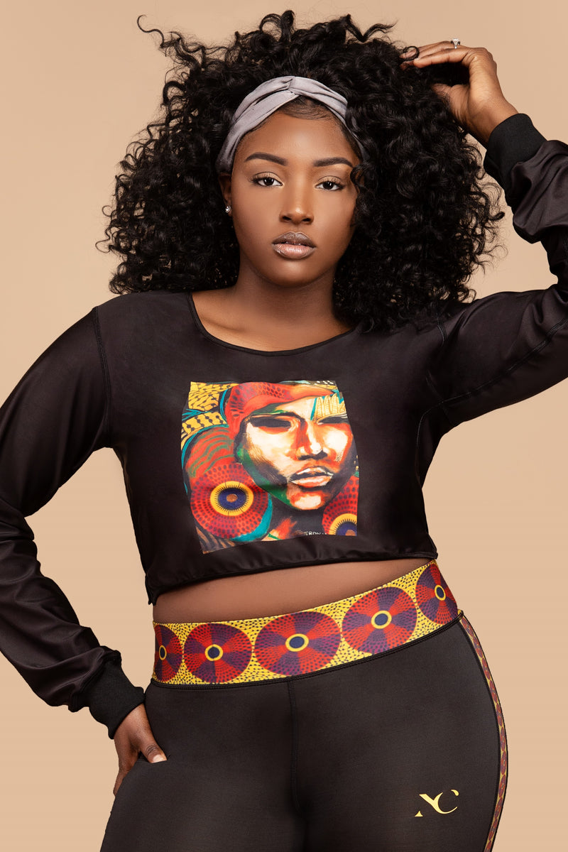 Marty Graphic Art Crop Sweatshirt