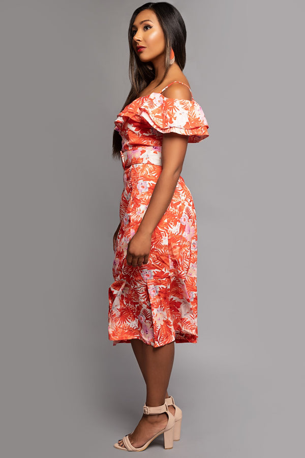 Orange Tropical Print Belted Dress