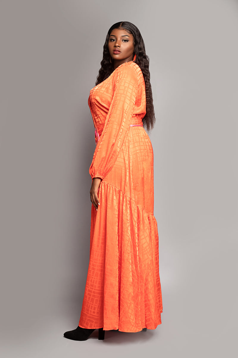 Orange Button Font Belted Maxi Dress
