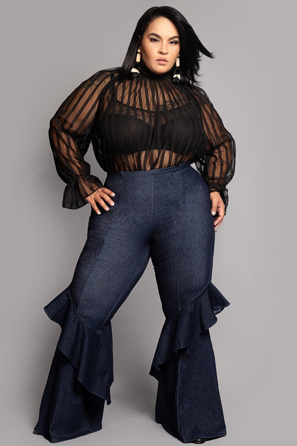 Denim Stretch Ruffle Bell Bottom Pants