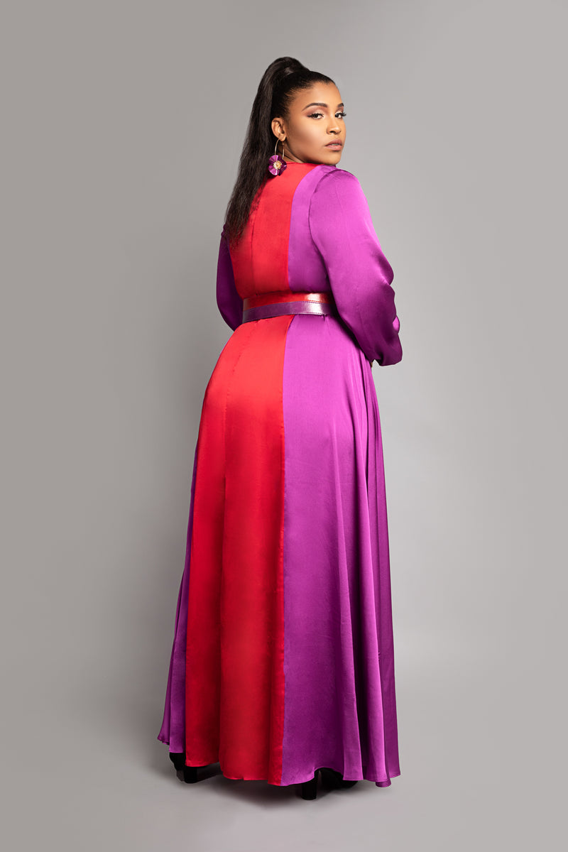 Purple Red Two-Tone Maxi Dress