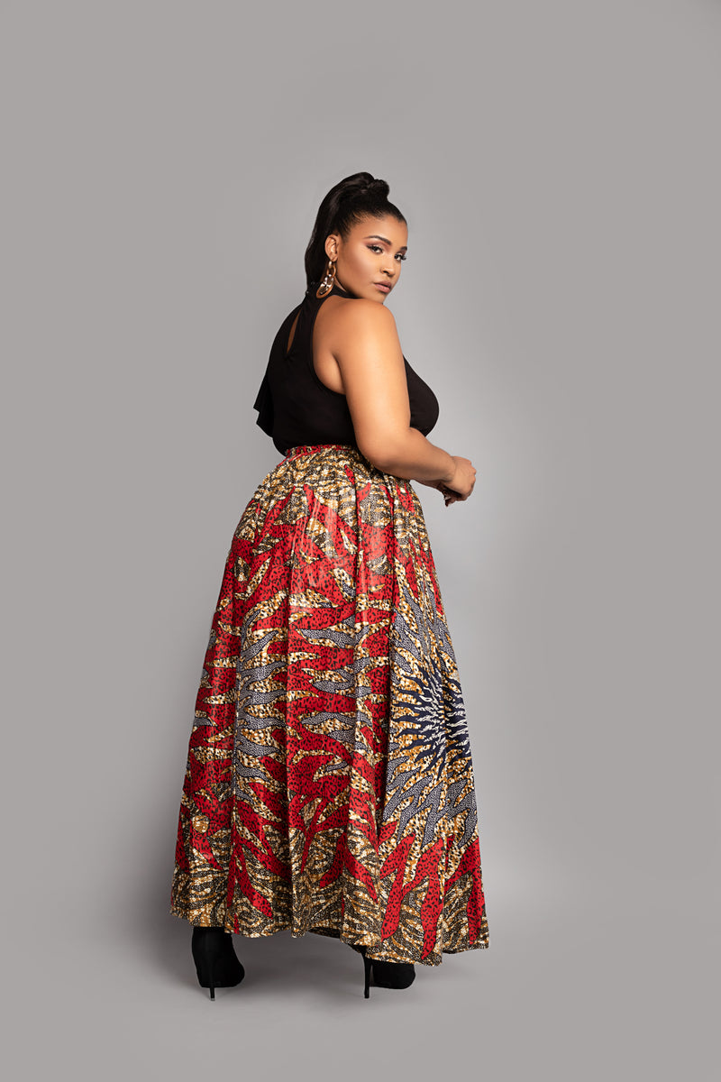Red Burst African Wax Print Maxi Skirt