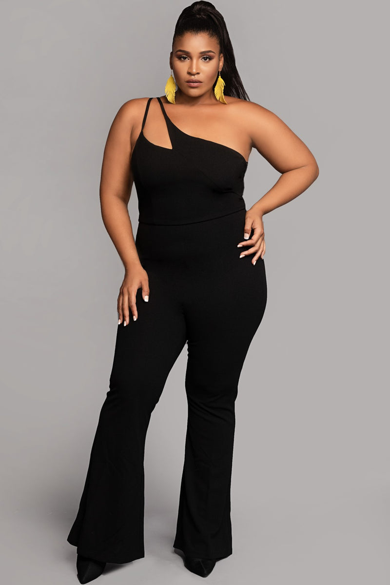 Double Strap One Shoulder Flare Pants Jumpsuit