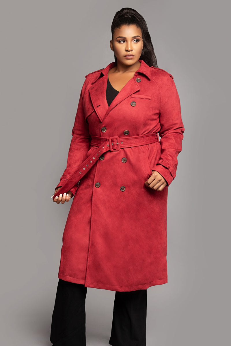 Red Double Breasted Midi Trench Coat