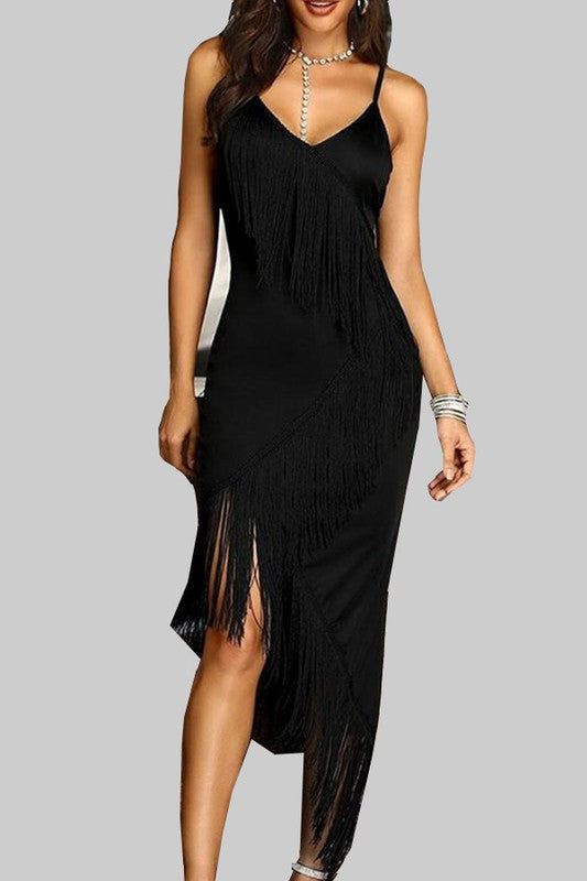 Black Asymmetrical Tassel Dress