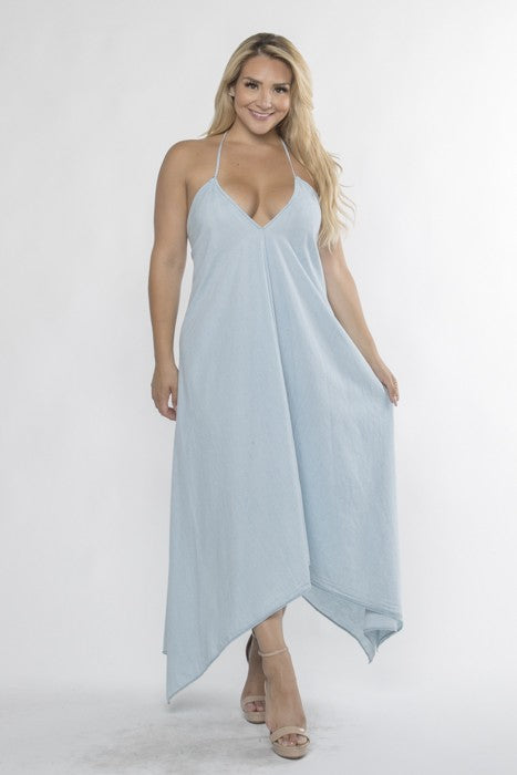 Denim Chambray Halter Maxi Dress