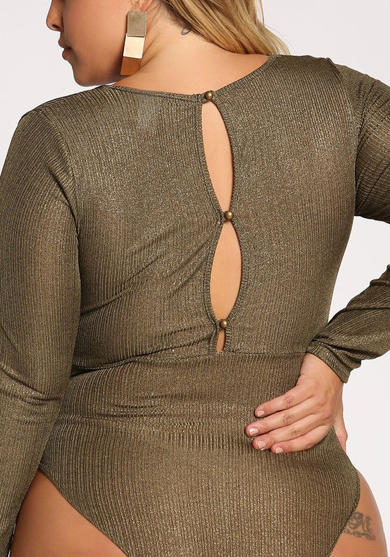 Plunge Twisted Metallic Bodysuit