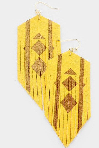 Gold Detail Cut Suede Fringe Dangle Earrings