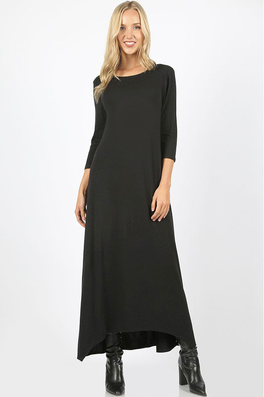Malia Black High Low Hem Maxi Dress
