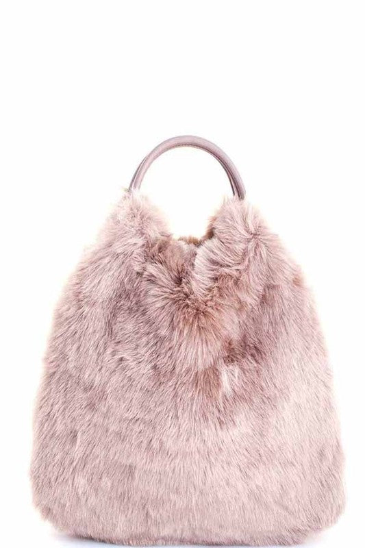 Taupe Fur Purse