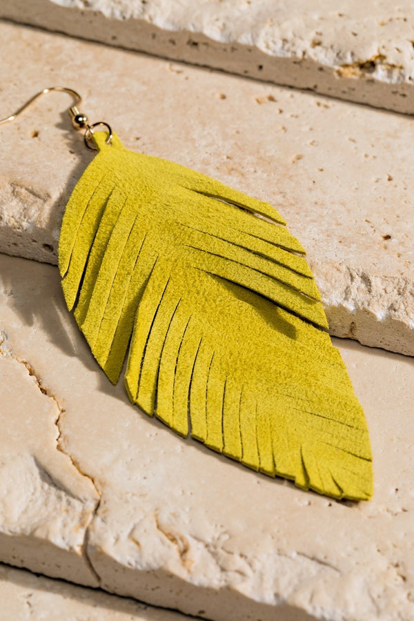 Soft Leather Leaf Dangle Earring