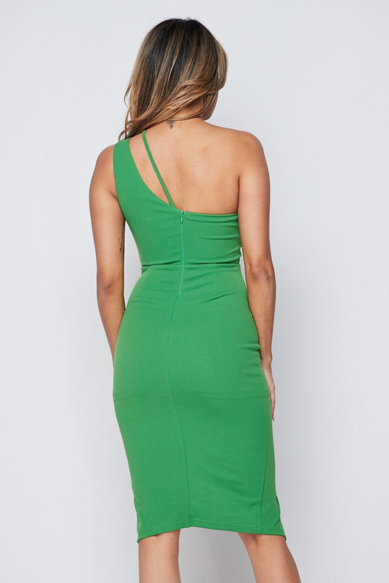 Green One Shoulder Body-Con Dress