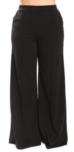 Black Solid crepe flare Pants