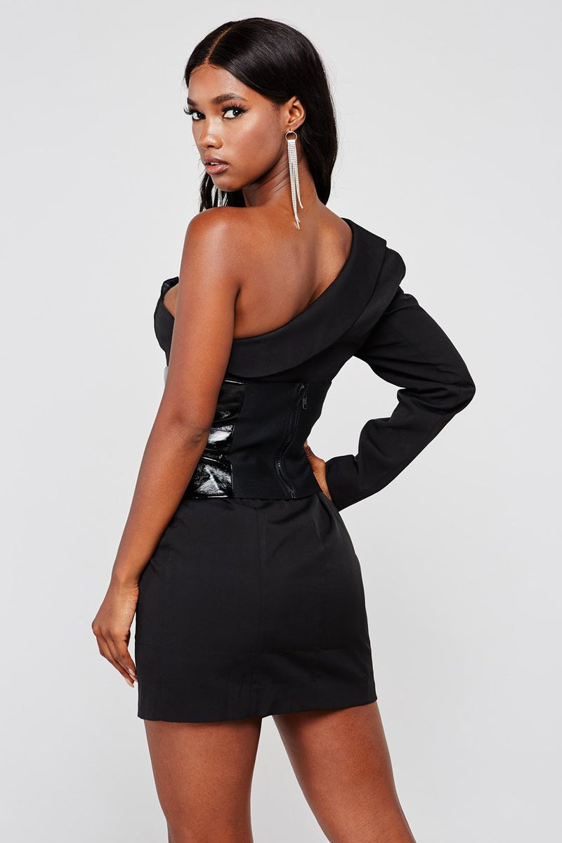 Black One Shoulder Blazer Dress