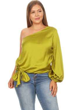 Satin One Shoulder Blouse