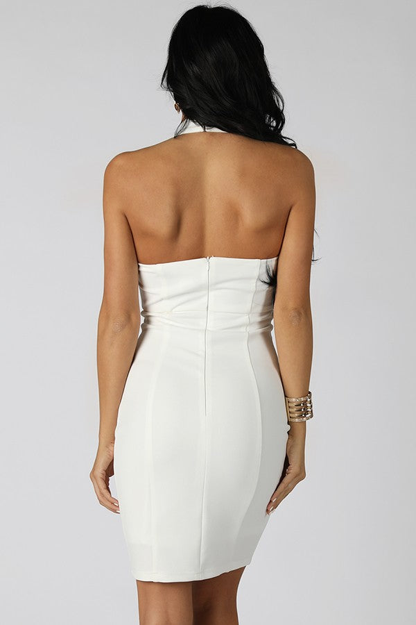 Off White Halter Bodycon Dress