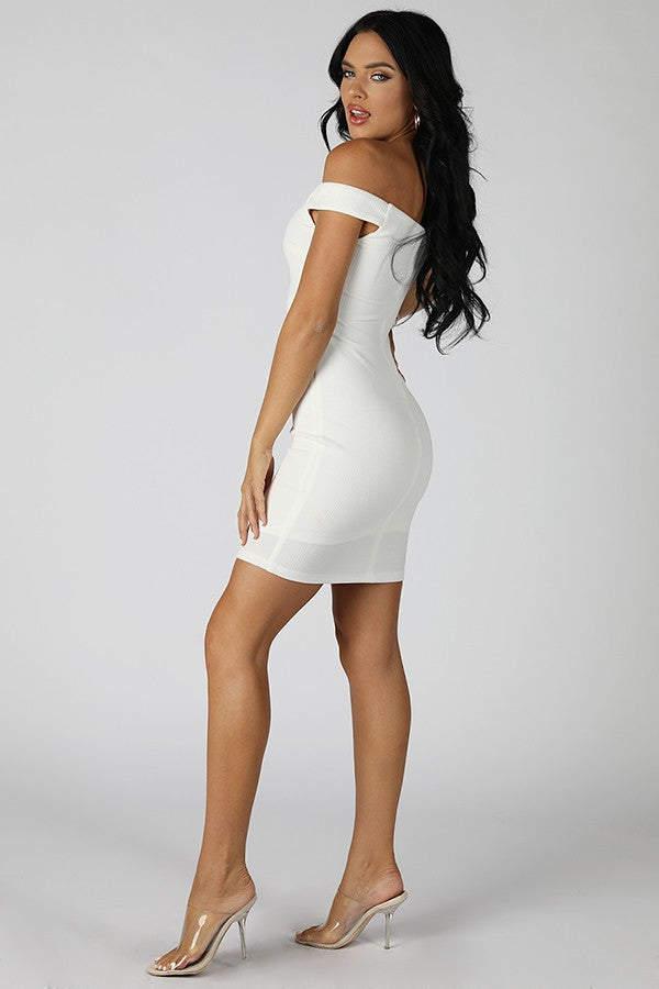 Ivory Front Knot Off Shoulder Dress