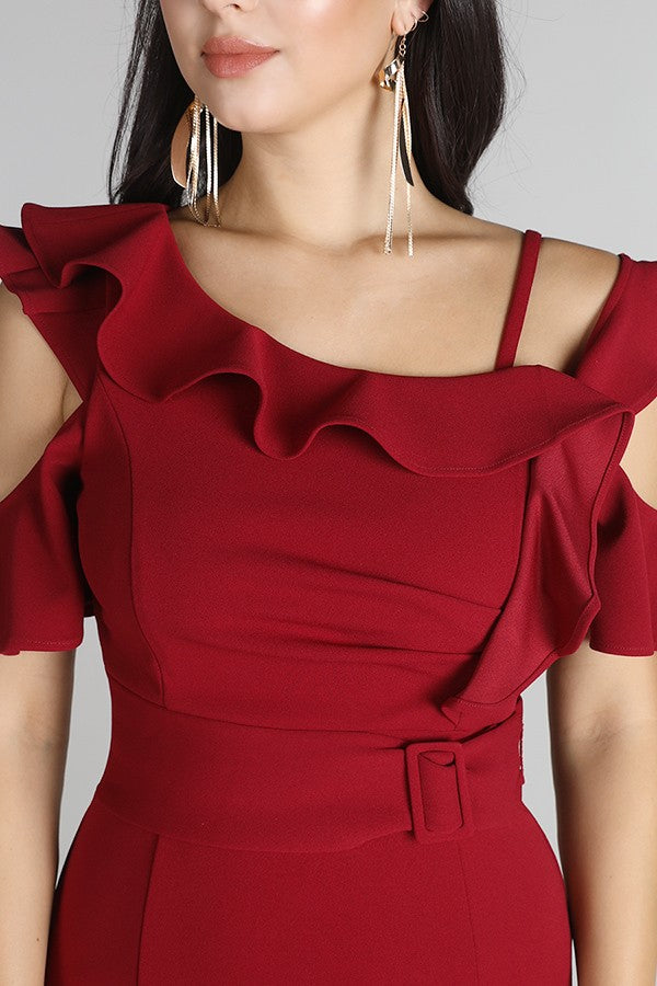 Red Ruffled Cold Shoulder Dress