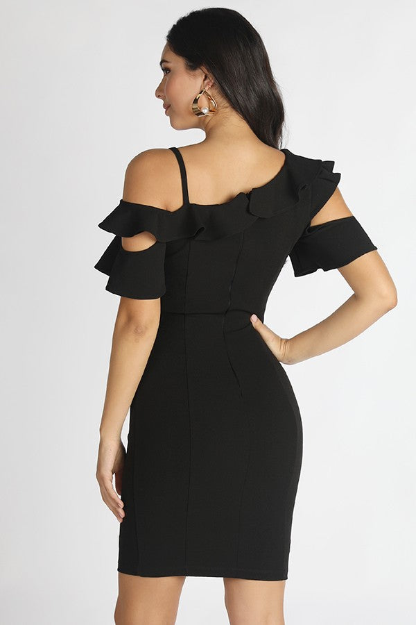 Black Ruffled Cold Shoulder Dress