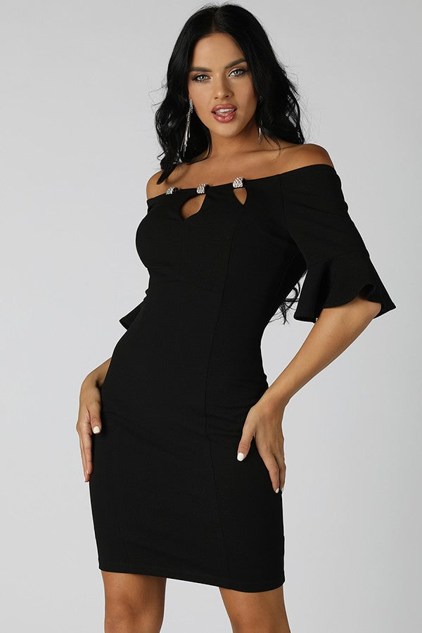 Black Off Shoulder Dress With Rhinestone Trim