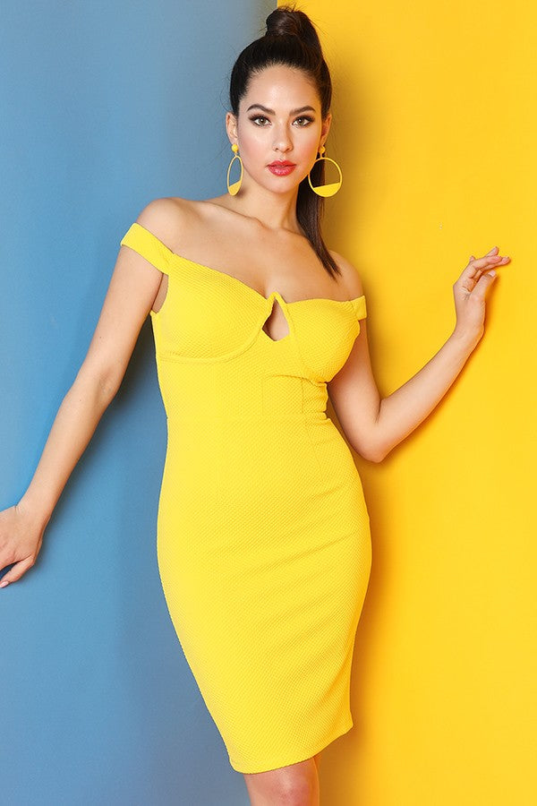 Yellow Looped Detail Back Off Shoulder Dress