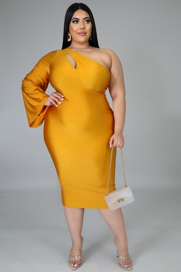 Mustard One Shoulder Midi Dress with Cutout Neckline