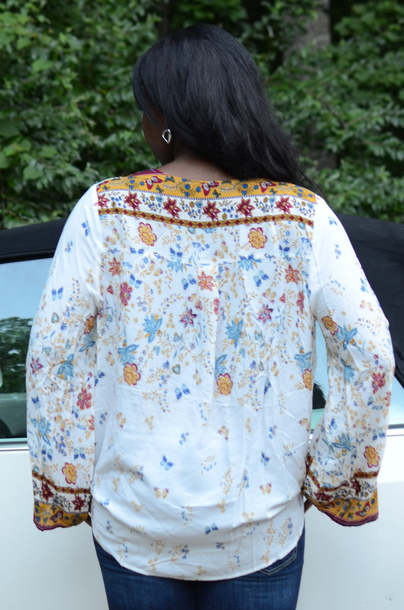 Cream Floral Print Surplice Blouse