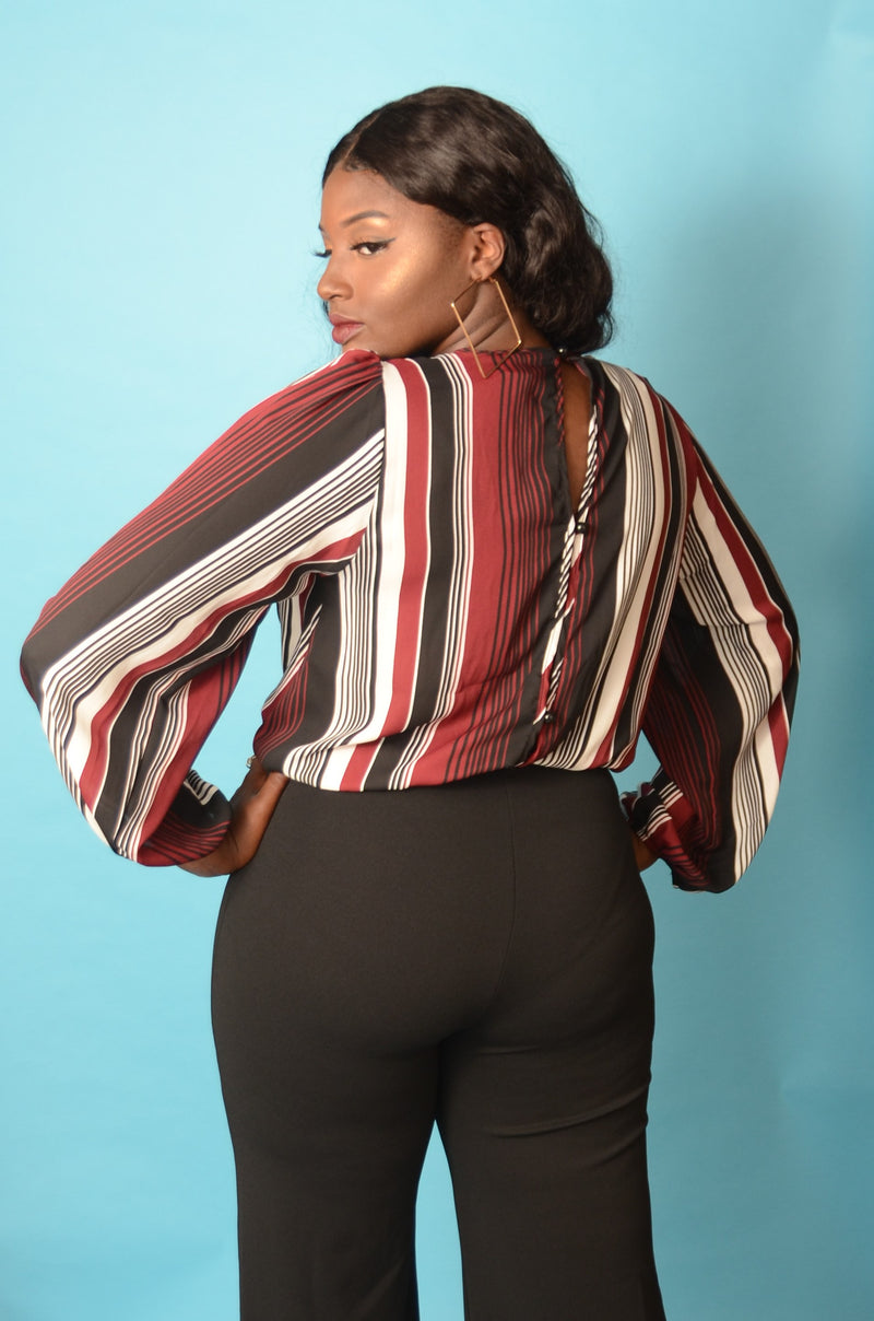 Red Stripe Bodysuit Blouse
