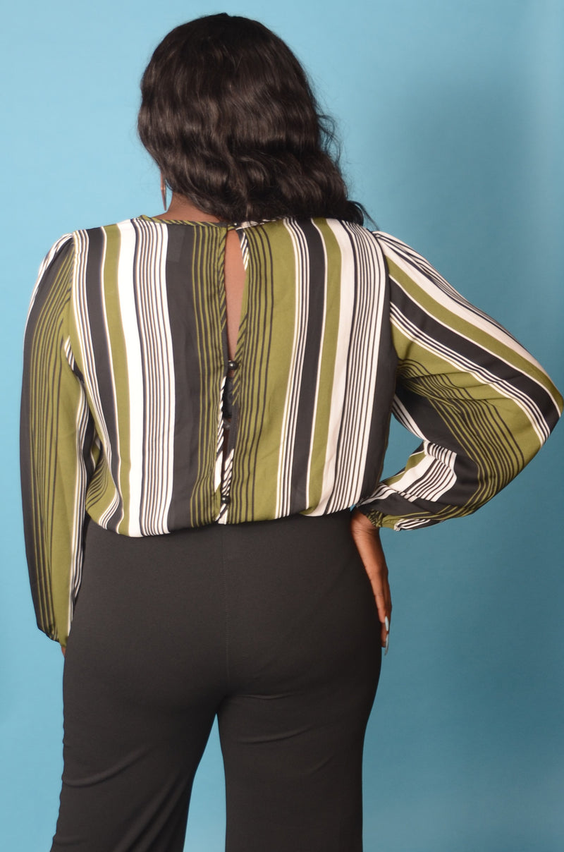 Green Stripe Bodysuit Blouse