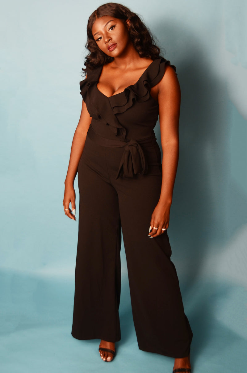 Black Ruffle Layered Off The Shoulder Jumpsuit