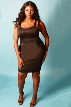 Black Bodycon Dress with Ruffled Peplum back