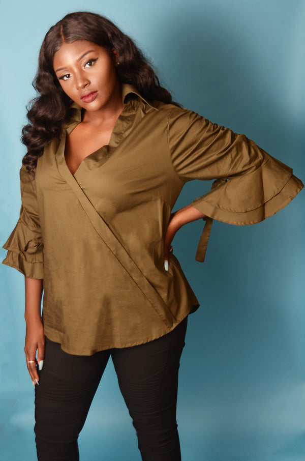 Olive Collard V Neck Ruffled 3/4 Sleeve Top