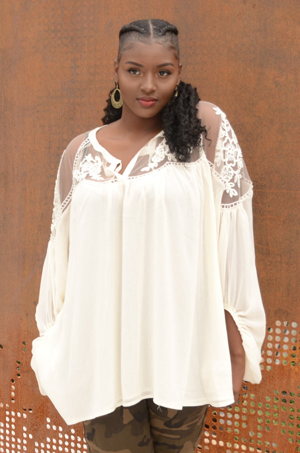 Cream Sheer Peasant Top