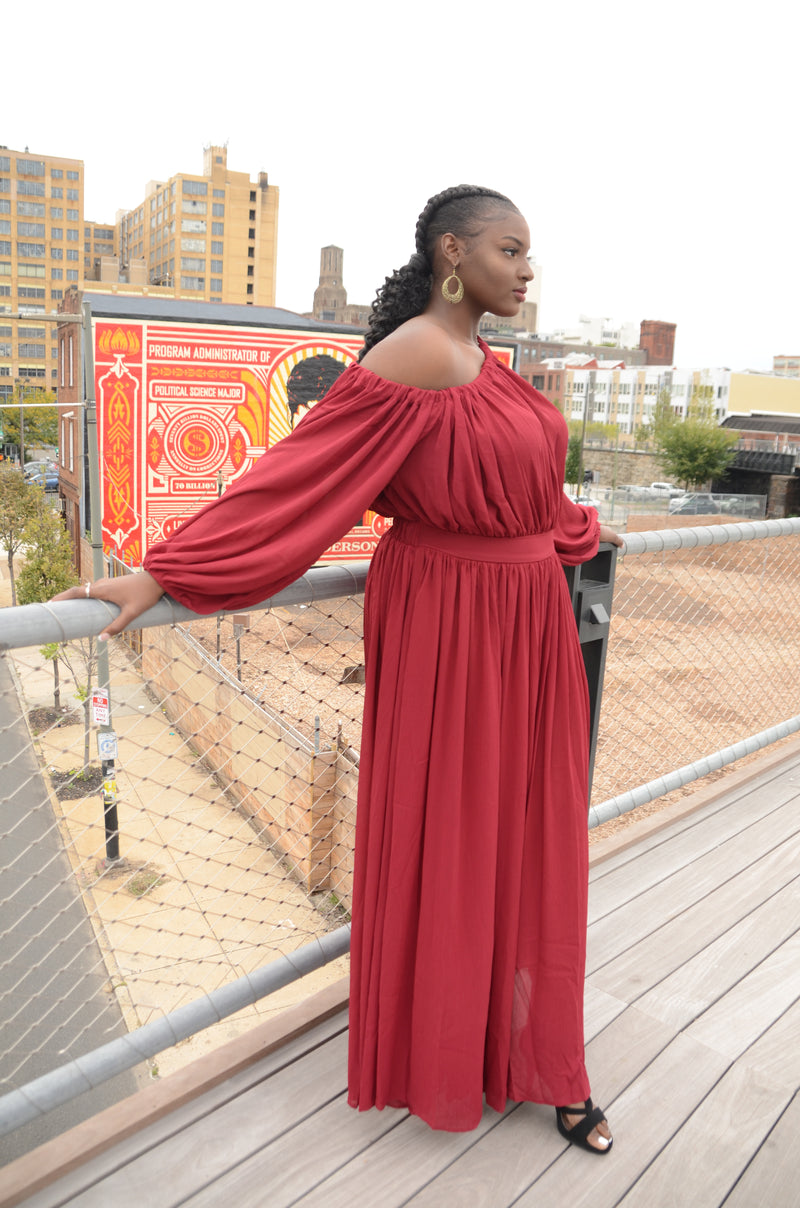 Red Off the Shoulder Maxi