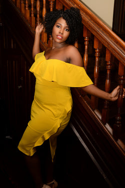 Yellow Off The Shoulder Side Ruffle Dress